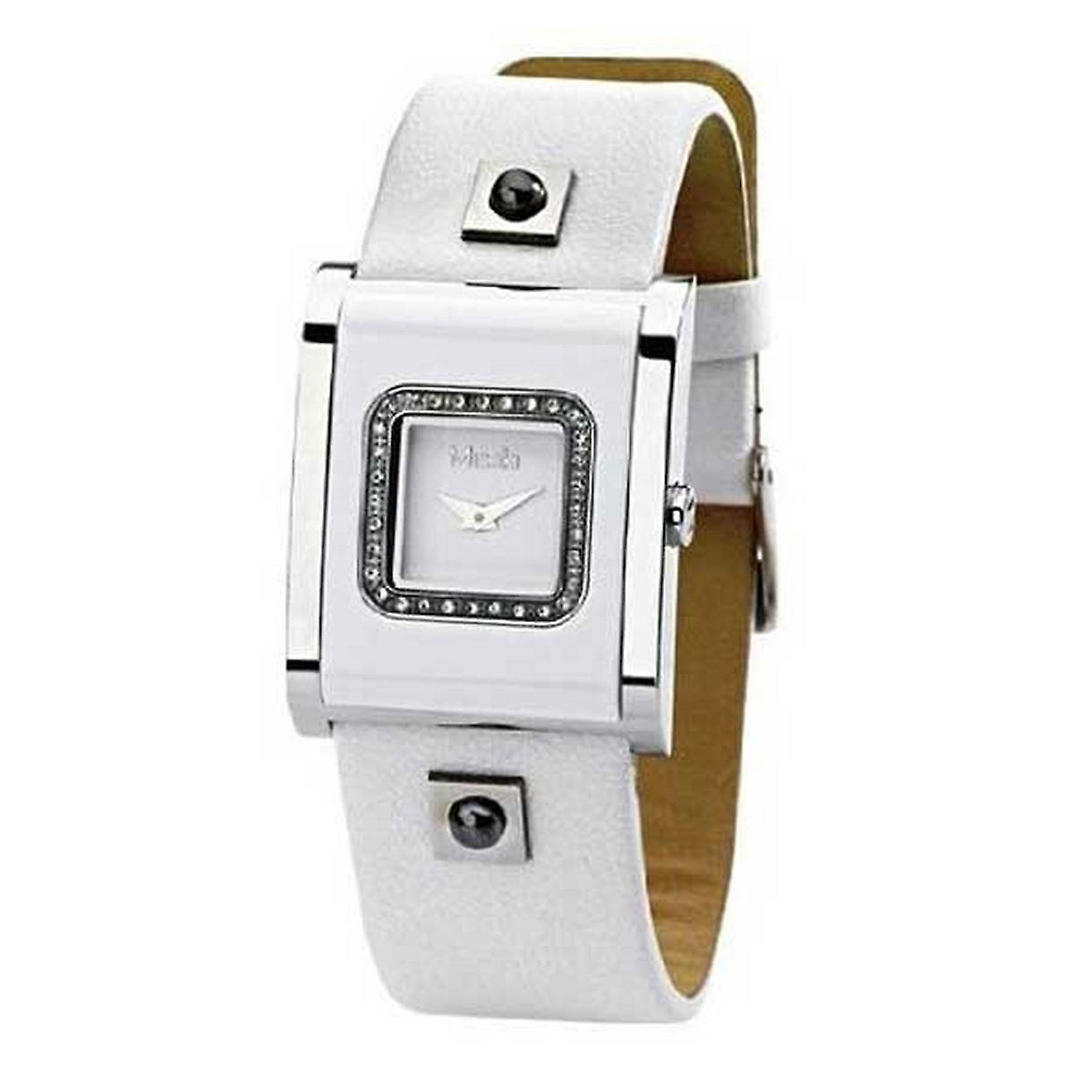 Misaki ladies watch QCRWACQUAW watch White leather strap