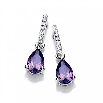 Cavendish French Delicate Amethyst CZ and Silver Teardrop Earrings