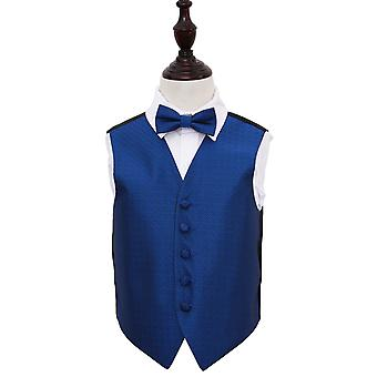 Boy's Greek Key Royal Blue Wedding Waistcoat & Bow Tie Set