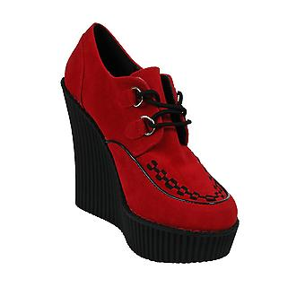 Demonia Red Wedge Heel Creepers UK 3