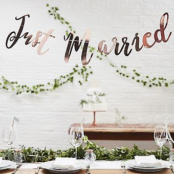 Just Married Rose Gold Bunting Backdrop-Range Wedding Decs 1.5m