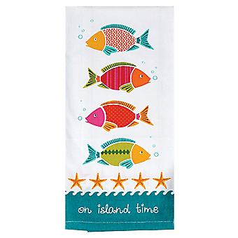 On Island Time Tropical Fish Swimming Tea Kitchen Dish Towel