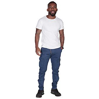 Men's Cargo Trousers - Slim Fit - Blue Mens Combat Pants Offset Zip Detail