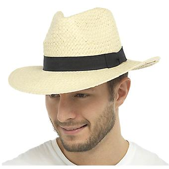 Adults Unisex Mens Ladies Tom Franks Fedora Straw With Black Band Summer Sun Hat