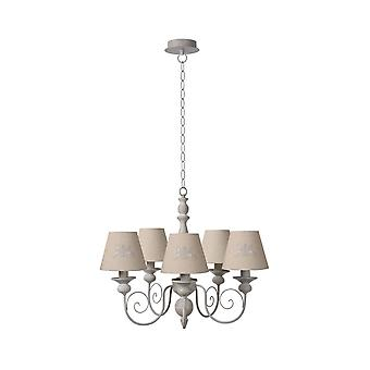 Lucide ROBIN 5 Light Chandelier With Taupe Shades