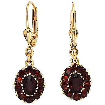 Boutons or 375 jaune or 22 grenade rouge Boucles d'oreilles Boucles d'oreilles Boucles d'oreilles grenat