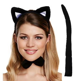Gatto nero impostata le orecchie, coda & Papillon Costume Halloween Party accessorio