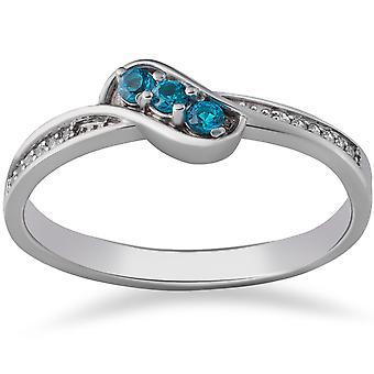 1/6ct Blue & White Diamond 3-Stone Ring 14k White Gold