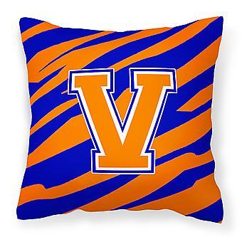 Вензель первоначальный V Тигр полоса - синий оранжевый декоративные холст ткань подушки