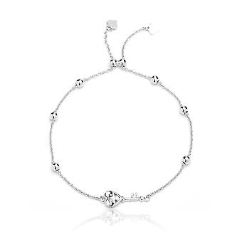 Sterling Silver Adjustable Bracelet with Heart Key and Beads, , 9 Inch