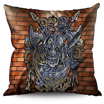 Ancient Viking Skull Linen Cushion Ancient Viking Skull | Wellcoda