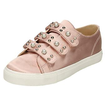 Ladies Spot On Pearl Strap Trainers - Pink Satin - UK Size 5 - EU Size 38 - US Size 7