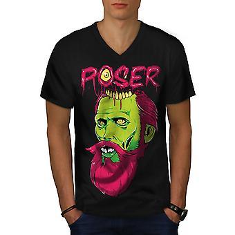 Poser Monster Rock Männer BlackV-Neck T-shirt   Wellcoda