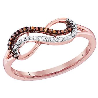 Enhanced Red and White Diamond Infinity Ring in 10K Rose Pink Gold 1/10 Carat (ctw Color J-K Clarity I2-I3)