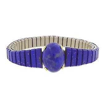Steel and gold bracelet with lapis lazuli
