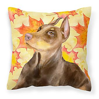 Doberman Pinscher Fall Fabric Decorative Pillow