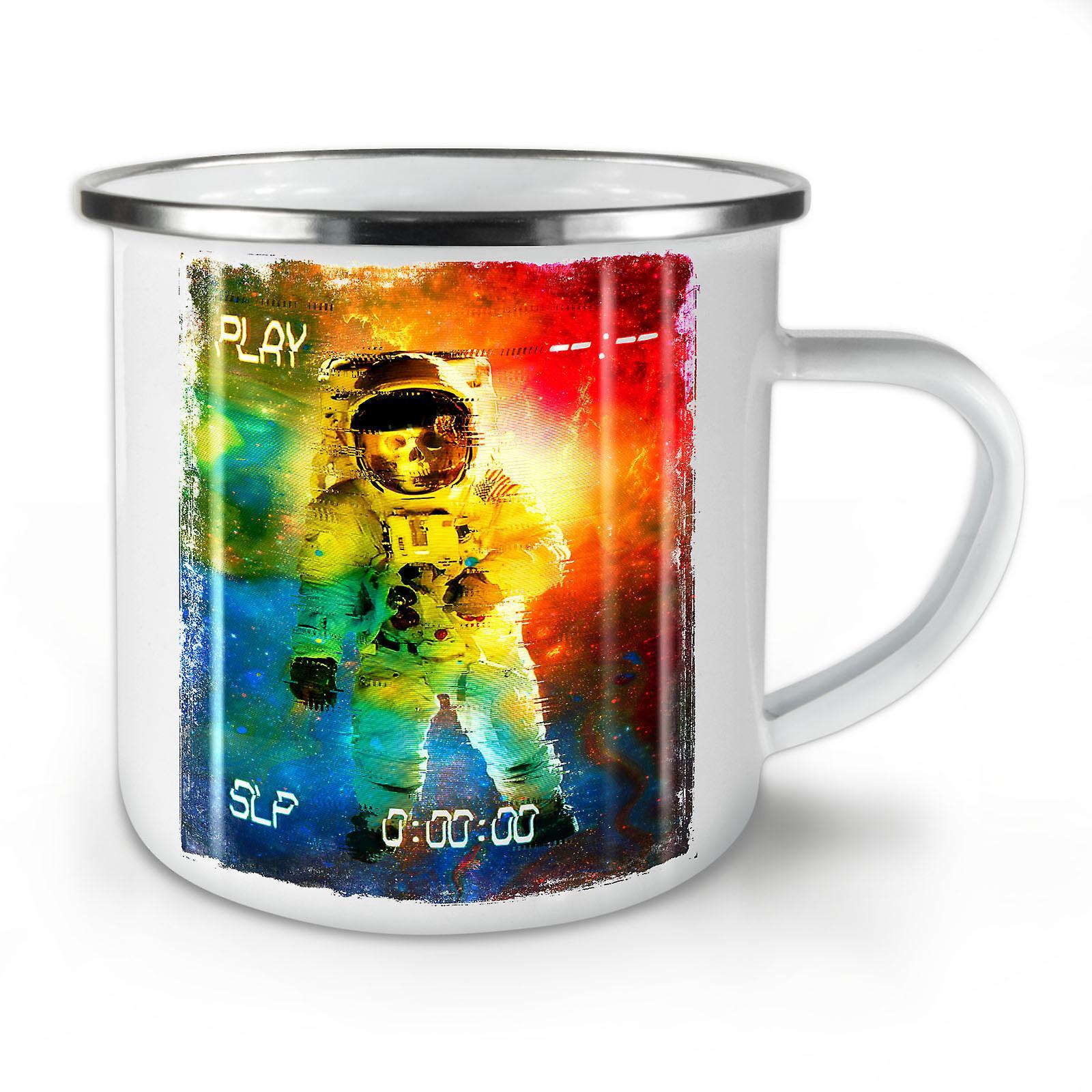Émail OzWellcoda Espace Whitetea Mug10 Crâne Nouveau Astronaute Café RLq4A5S3jc