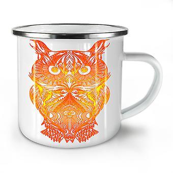 Night Owl On Fire NEW WhiteTea Coffee Enamel Mug10 oz | Wellcoda