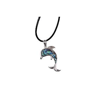 Woman - girl Dolphin abalone pendant necklace