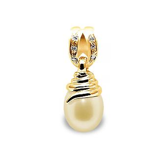 Pendant Pearl of Culture of water soft gold, diamonds and yellow gold 750/1000