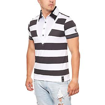 RUSTY NEAL stripes men's short-sleeved white spread collar