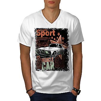 Sport Muskel Männer WhiteV-Neck T-shirt   Wellcoda