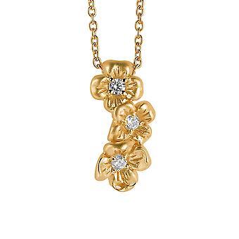 Orphelia Silver 925 Chain With Pendant Triple Flower Goldplatedzirconium  ZH-6018/2