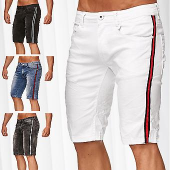 Men's Bermuda Shorts Racing Stripes Stretch Jeans Capri Pants Denim Summer