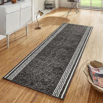 Design velour carpet runners bridge Casa black cream