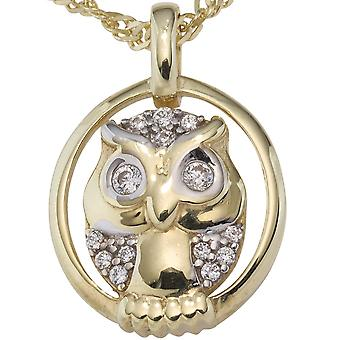 Chain pendant OWL 333 gold yellow gold bicolor with cubic zirconia pendant gold