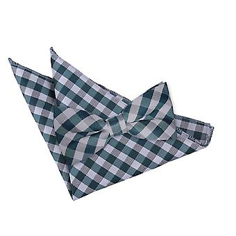 Turquoise Gingham Check Bow Tie & Pocket Square Set