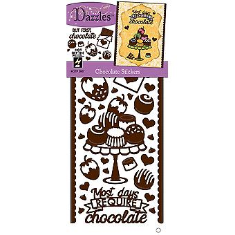 Dazzles Stickers-Chocolate, Brown/Clear Foil