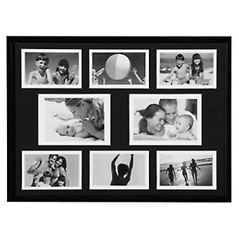 Collage - Wall Mounted Photo Frame - met acht openingen - Black
