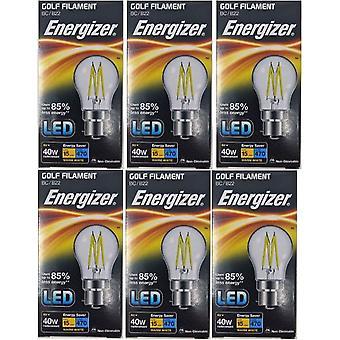 6 X Energizer Filament LED Golf Bulb  BC B22 4W = 40W 470Lumen Warm White Bayonet Cap [Energy Class A+]