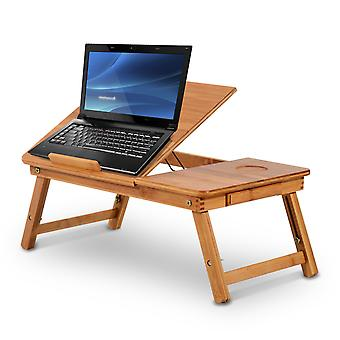 Homcom Portable Bamboo Laptop Desk Tray  with Drawer Adjustable & Foldable