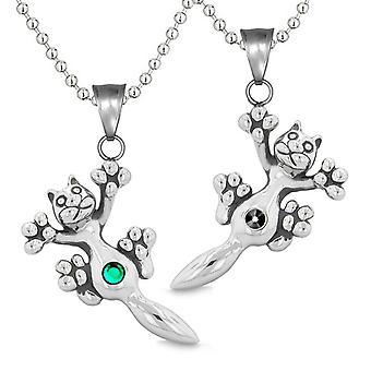 Amuletter søde Kitty kat kærlighed par eller bedste venner sæt grøn sort funklende krystaller halskæder