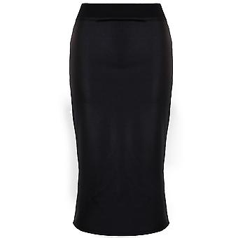 Ladies Celebrity Kardashian Inspired Wet Look Stretch Women's Midi Bodycon Skirt