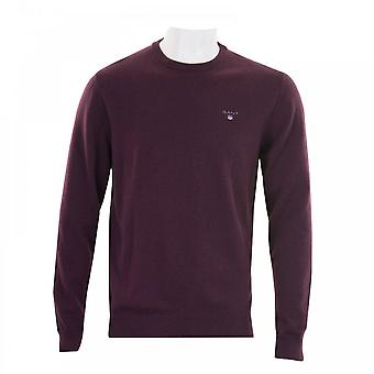 GANT Gant Mens Super Fine Lambswool Crew Knit Sweater (Burgundy)