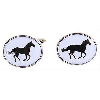 David Van Hagen Horse Cufflinks - White/Black