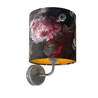 QAZQA Vintage Wall Lamp Antique Grey with Shade 20/20/20 Velvet Floral with Gold