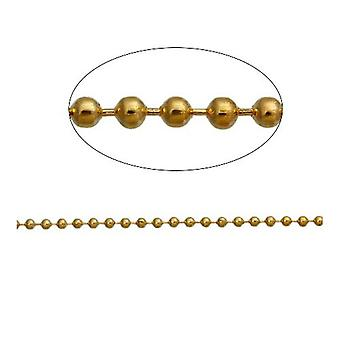 10m x Golden Plated Iron Alloy 2.5mm Closed Ball Chain CH2320
