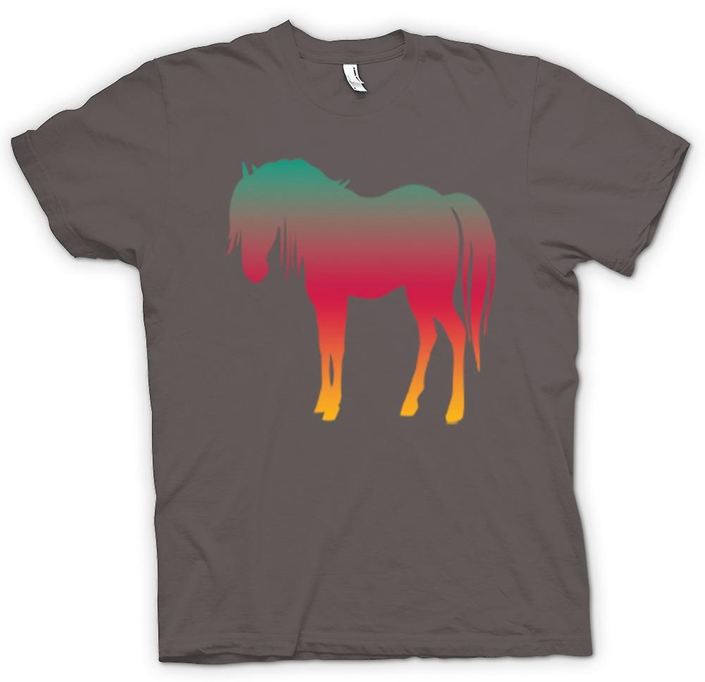 Womens T-shirt - Rainbow Design Horse Psychedelic
