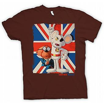 Kids T-shirt - Danger Mouse og Penfold - Union Jack - Retro