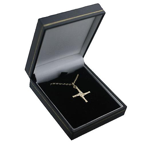 9ct Gold 22x22mm St Bernadette Cross with a belcher Chain 16 inches Only Suitable for Children