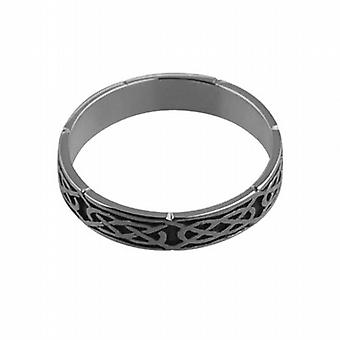 Silver oxidized 4mm Celtic Wedding Ring Size Z