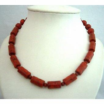 Coral Red Cylindrical Beads Handcrafted Fine Jewelry Necklace
