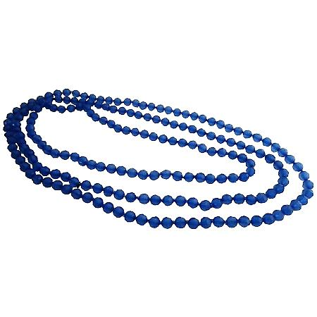 Summer Bridesmaid Gift Blue Sapphire Long Multifaceted Beads Necklace