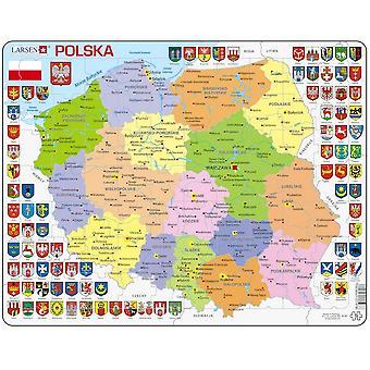 Politische Karte von Polen / Polska - Frame/Board Jigsaw Puzzle 29 x 37 cm (LRS K97-PL)