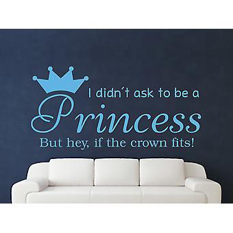 Att vara en prinsessa v2 Wall Art klistermärke - Arctic Blue