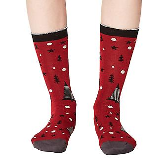 Merry women's super-soft bamboo crew socks in cranberry | By Thought